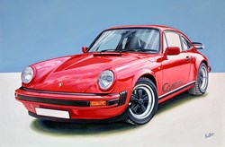 1976 Porsche 911 Carrera by Roz Wilson - Original Painting on Stretched Canvas sized 36x24 inches. Available from Whitewall Galleries